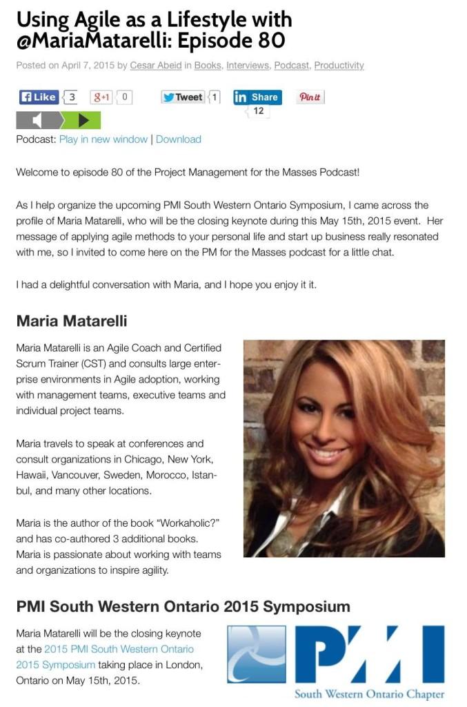 Maria Matarelli Agile Lifestyle Podcast Interview